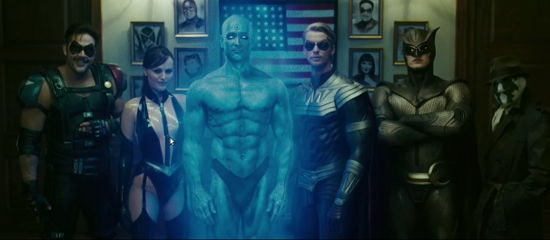 L-R Peacemaker, Nightshade, Captain Atom, Thunderbolt, Blue Beetle and The Question
