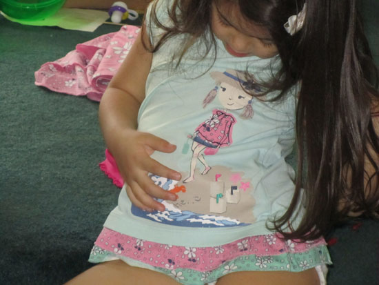 "This shirt that Auntie Jo gave Yaya has an ""attached tutu""!!"