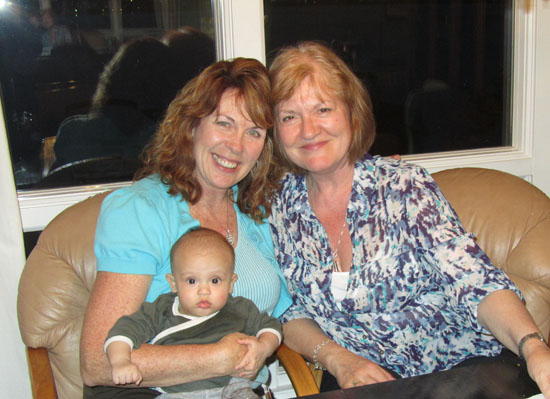 Adik with his Aunt Becky and Auntie Jo