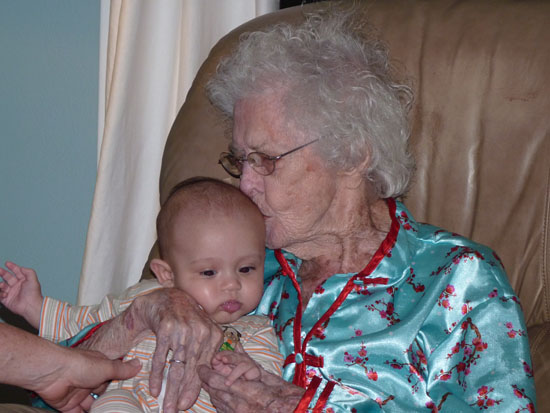 Adik gets a kiss from 98-year-old Aunt Mary