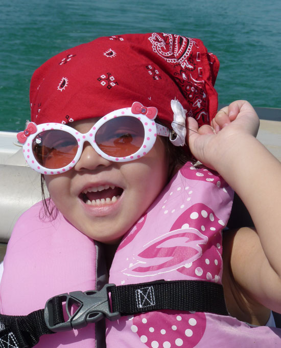 Pirate Yaya enjoying the boat ride