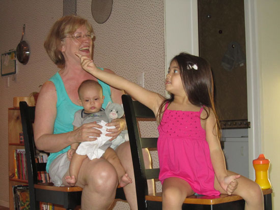 "Yaya, Auntie Jo and Adik (and Purrsley)  play ""trains"""