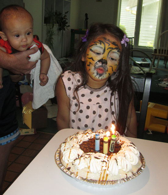 Tiger blows out her candles, Adik wants to help