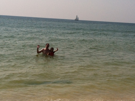 Papa and Yaya swimming together