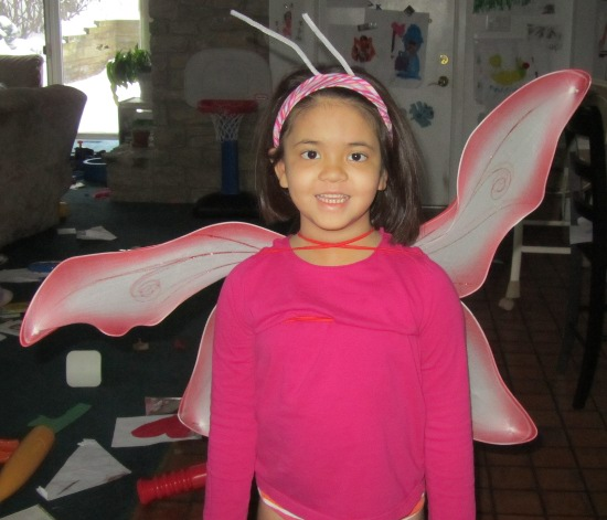 Yaya the butterfly (note the antennae)
