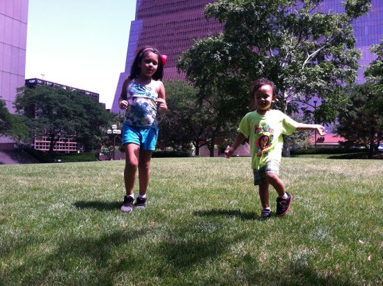 Running at a grassy area in Minneapolis