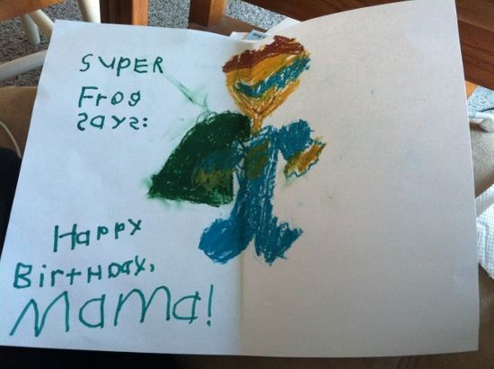 Yaya made me an awesome Super Frog card! She invented a super hero for my birthday!
