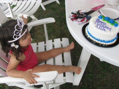Tiara from Aunt Joan for the almost-birthday girl