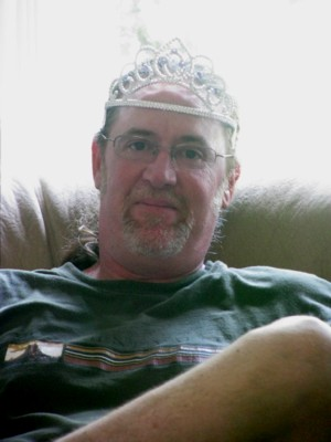 It's Papa's turn to wear the tiara