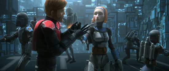 Guest starring Katee Sackhoff as Bo-Katan