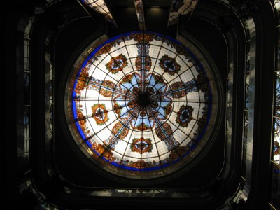 Domed roof of the building made of stained glass