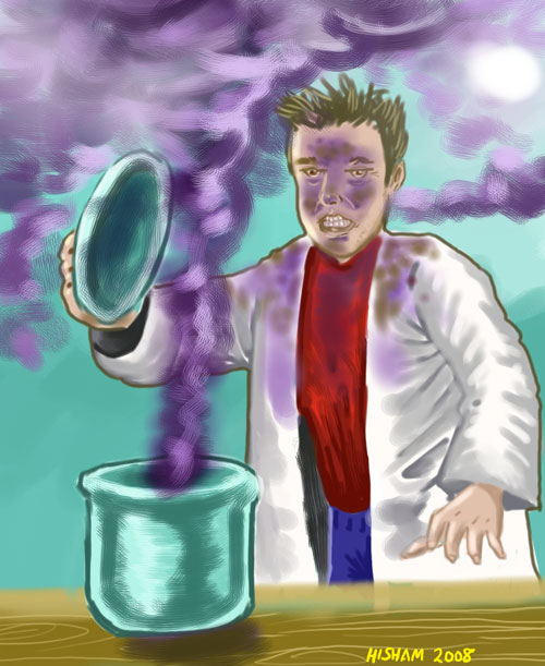 Yes. A guy in a lab coat is cooking something... maybe.