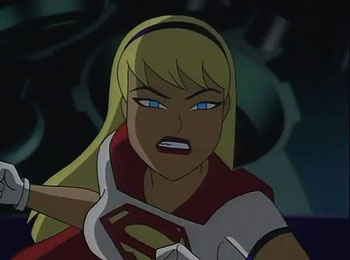 Of course the battle to end all battles occurs in the reactor room with  Supergirl trying to stop her own clone Galatea from destroying the  Watchtower.