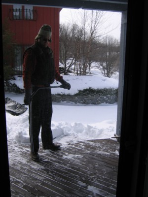 Shoveling the front porch first