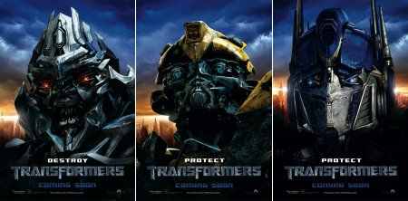 Megatron, Bumblebee and Optimus Prime