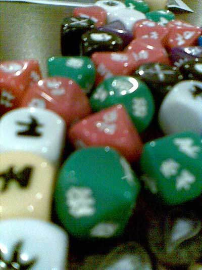 Funky dice with no numbers, but they work